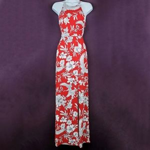 EXPRESS Red White Floral High Slit Maxi Dress S